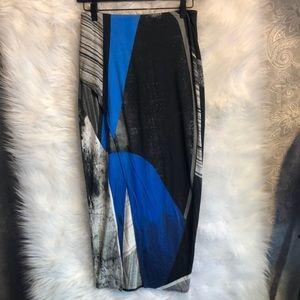 Helmut Lang Blue Asymmetrical Midi Skirt Size P